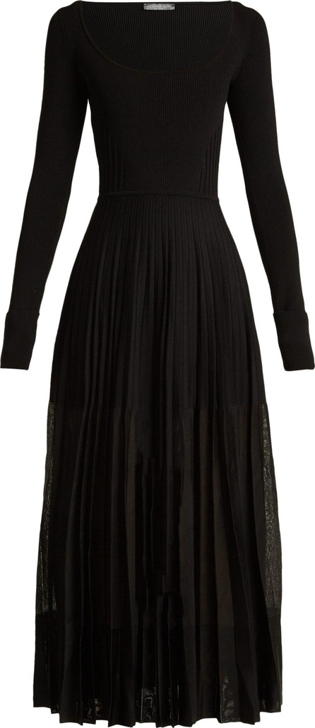 Alexander McQueen Stretch-knit pleated midi dress