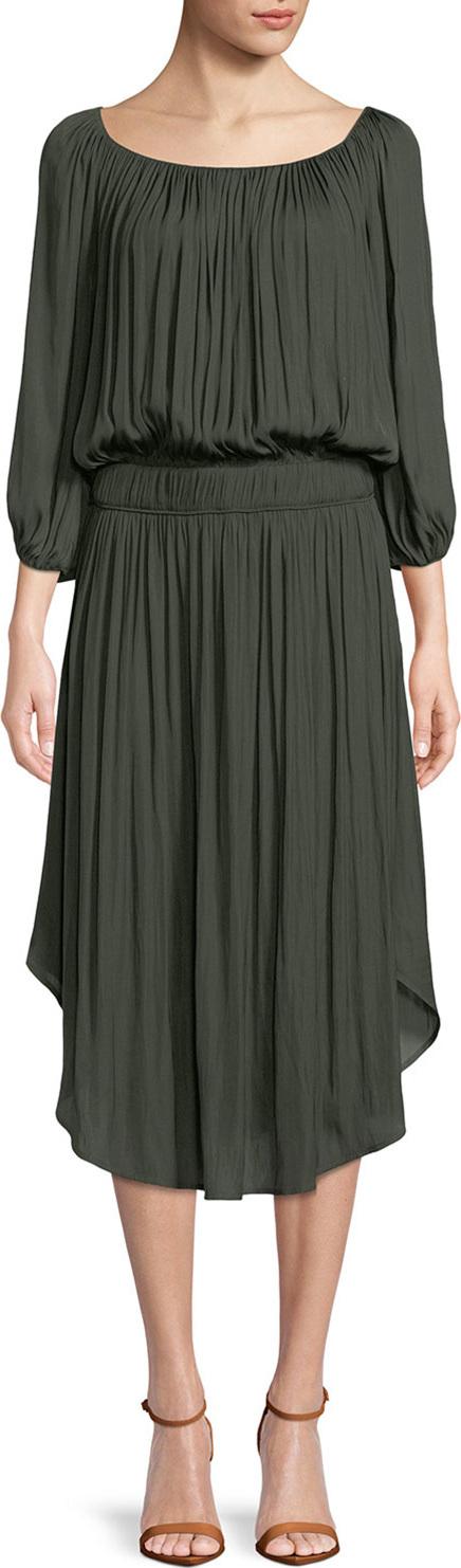 HALSTON HERITAGE Flowy Ruched Sheath Dress