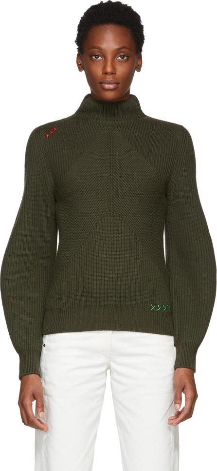 Carven Green Contrast Stitch Turtleneck