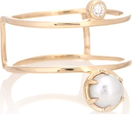 Anna Sheffield Reverse Attelage 14kt gold ring with diamond and pearl