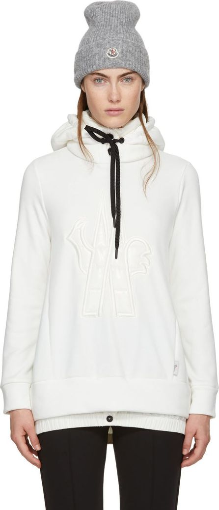 Moncler White Down Embroidered Logo Hoodie