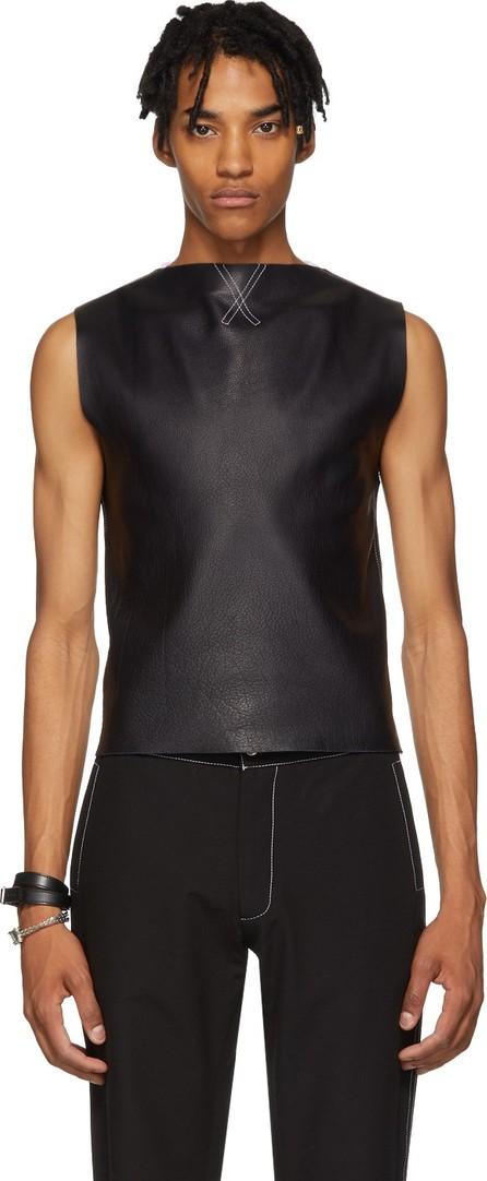 Daniel W. Fletcher Navy & White Leather Rib Vest