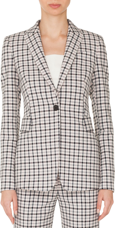 Akris Punto - One-Button Long-Sleeve Flap-Pockets Tailored Glen-Check Blazer