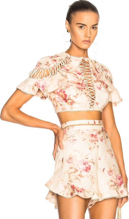 Zimmermann Corsair Flutter Lace Up Top