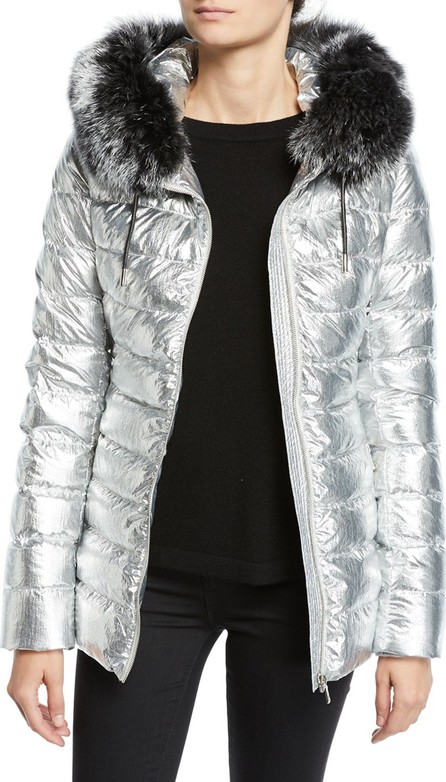 Army By Yves Salomon Metallic Puffer Jacket w/ Fur Trim