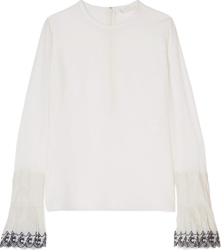 Chloe Embroidered silk crepe de chine blouse