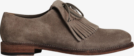 Burberry London England Lace-up Kiltie Fringe Suede Loafers
