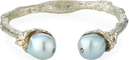 K Brunini Sterling Silver Twig & 12mm Pearl Cuff