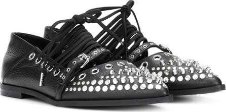 McQ - Alexander McQueen Embellished leather ballerinas
