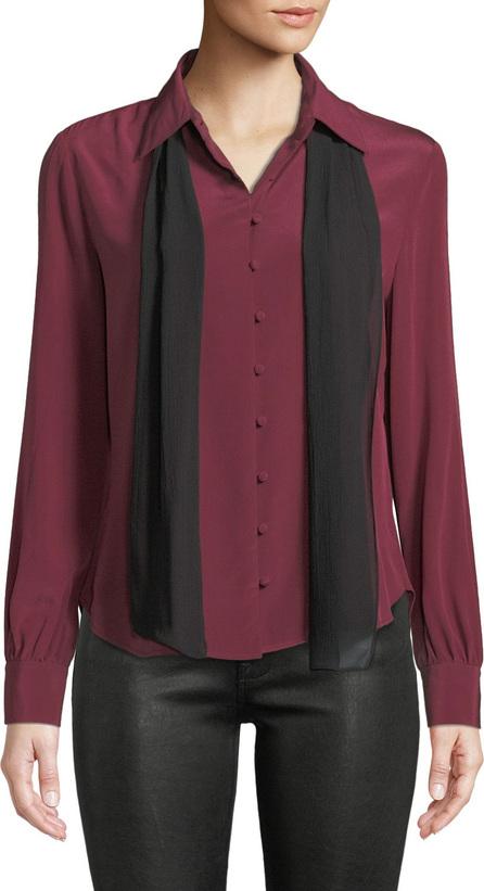 FRAME DENIM Long-Sleeve Silk Button-Front Blouse w/ Neck Tie