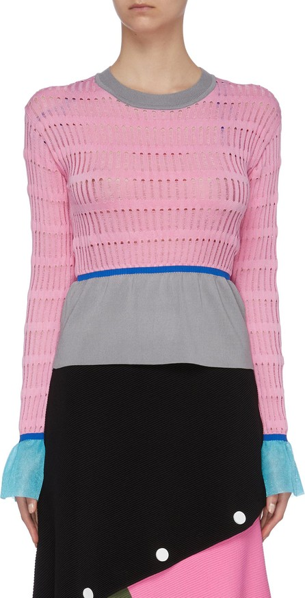 i-am-chen Contrast waist cuff panel cut out knit top