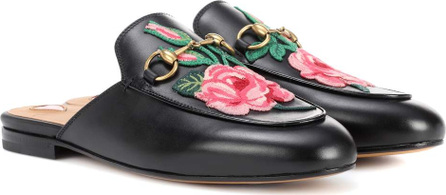 Gucci Princetown leather slippers with embroidered appliqué