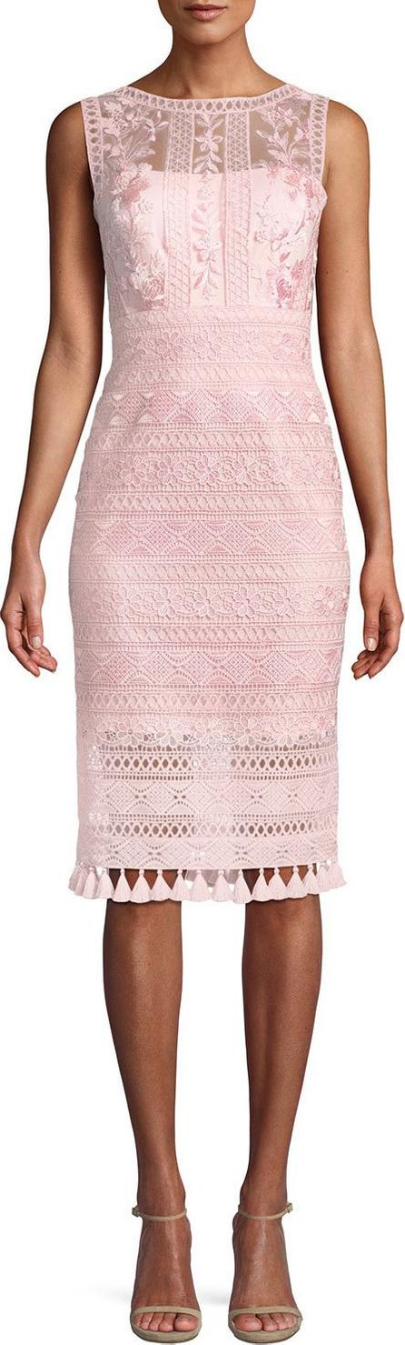 Tadashi Shoji Embroidered Lace Dress w/ Tassel Hem