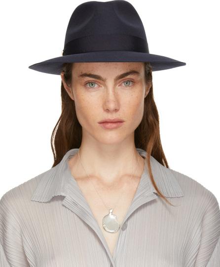 Lanvin Navy Felt Fedora Hat