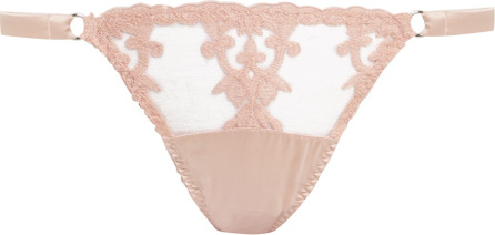 Fleur of England Sheer and lace silk-blend satin thong