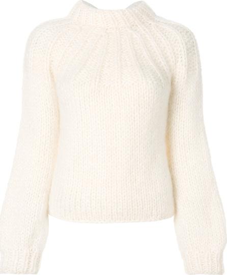 Ganni Chunky knit tie back sweater