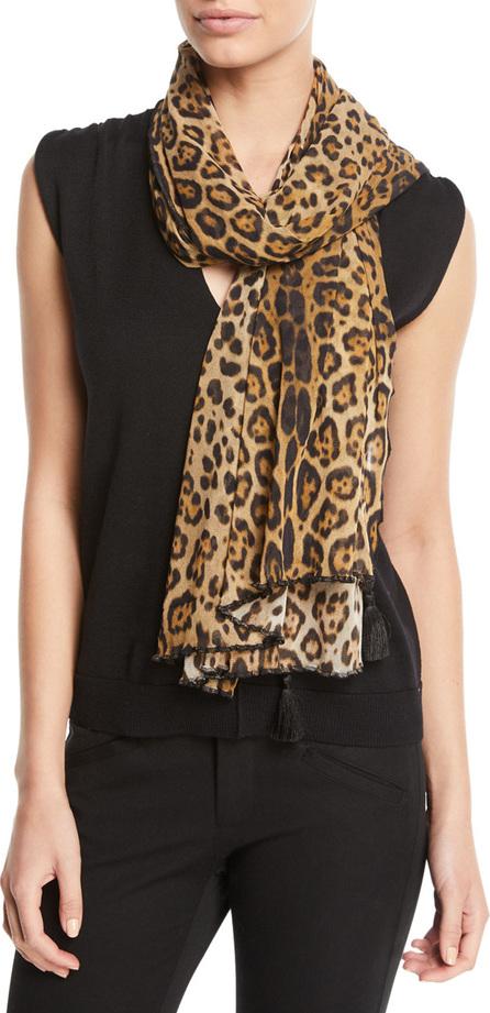 Fuzzi Leopard-Print Tulle Tasseled Scarf