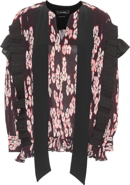 Isabel Marant Willis floral-printed pleated top