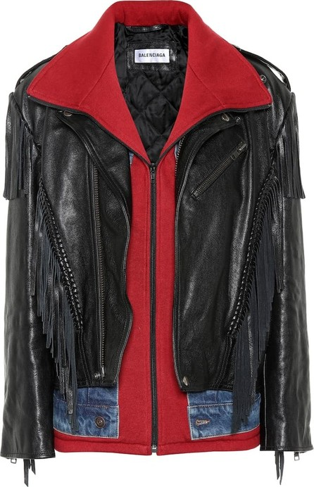 Balenciaga Denim-trimmed leather jacket
