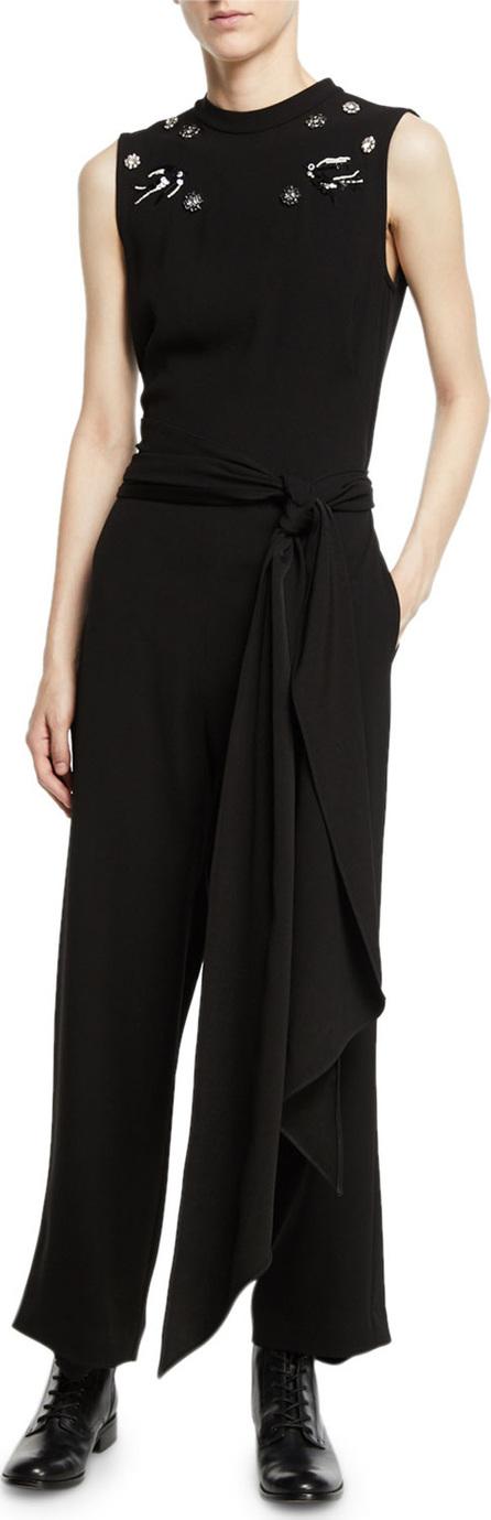 McQ - Alexander McQueen Deco Embellished Crepe Sleeveless Jumpsuit