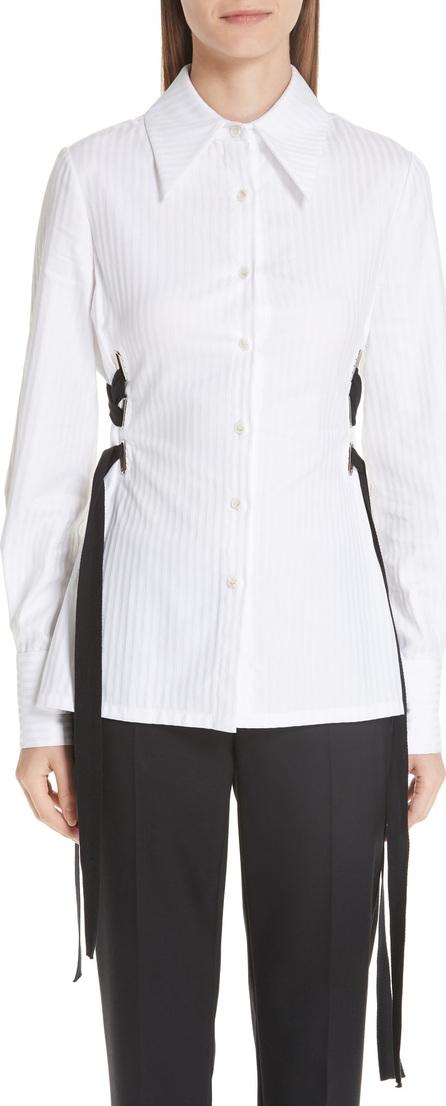 Yigal Azrouel Lace-Up Stripe Cotton Shirt