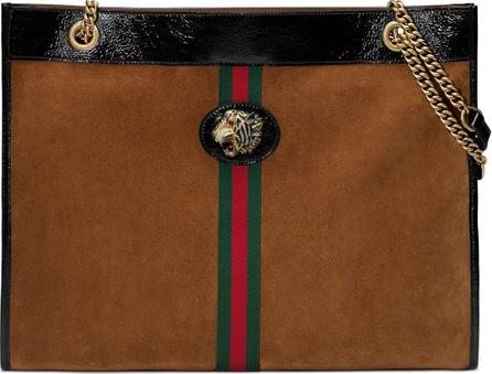 Gucci Linea Tiger Large Suede Shoulder Tote Bag with Patent Trim