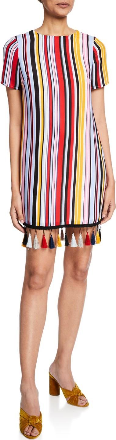 Aidan by Aidan Mattox Striped Crewneck T-Shirt Dress w/ Tassel Hem