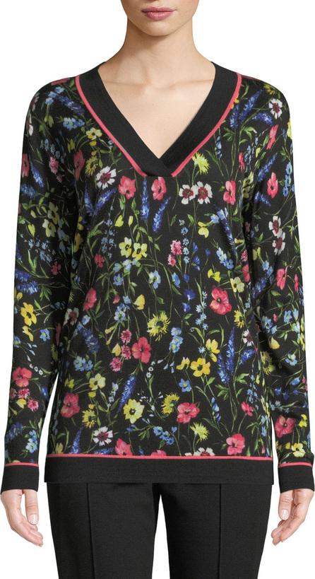 Escada V-Neck Long-Sleeve Floral-Print Pullover Tunic