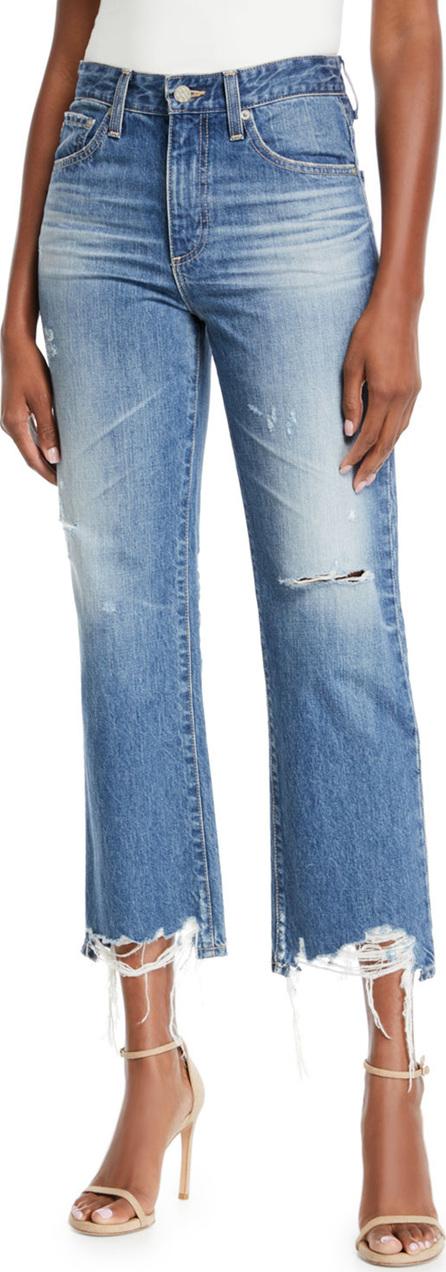 AG Jeans Rhett Distressed High-Rise Straight-Leg Jeans
