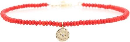 Sydney Evan Exclusive to Mytheresa – Evil Eye coral, 14kt gold and diamond bracelet