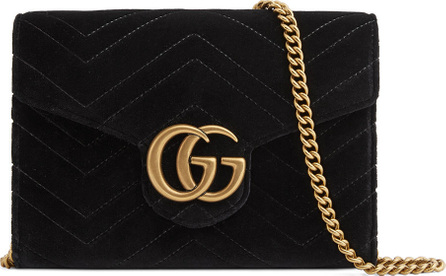 Gucci GG Marmont 2.0 Matelasse Velvet Wallet on a Chain