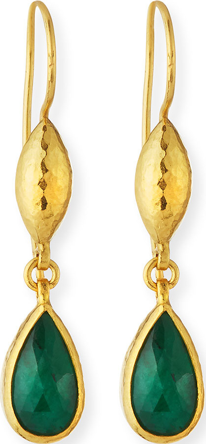 GURHAN 24k Emerald Teardrop Earrings