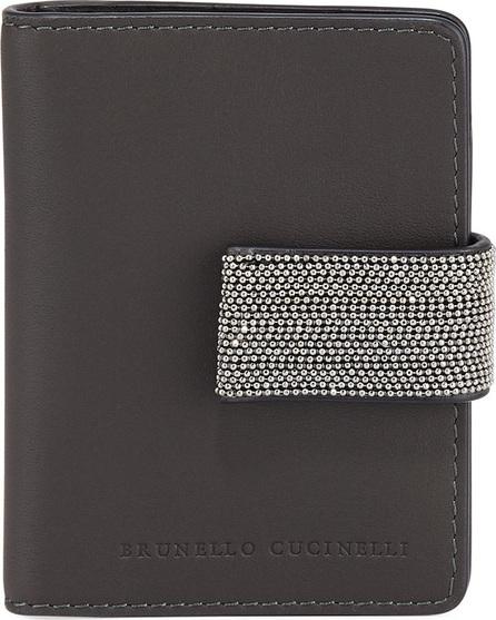 Brunello Cucinelli Mini Leather and Monili Card Holder