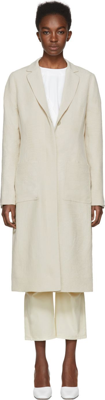 NOMIA Beige Slit Back Duster Coat