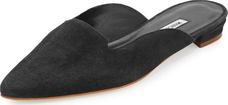Manolo Blahnik Ruby Suede Pointed-Toe Mule, Black
