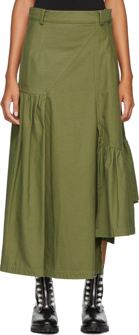 3.1 Phillip Lim Green Layered Utility Maxi Skirt