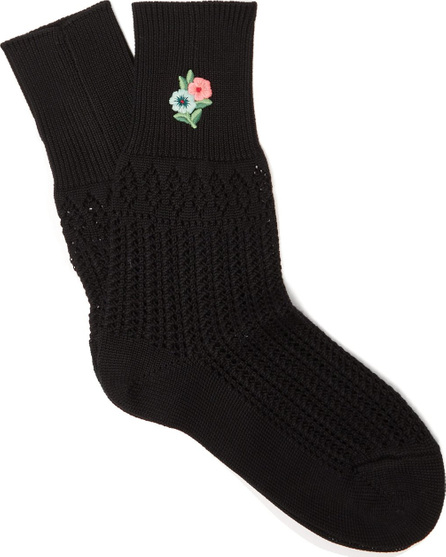 Gucci Floral-embroidered pointelle knit ankle socks