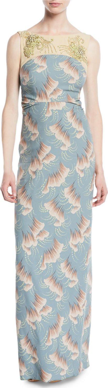 Dries Van Noten Delicia Sleeveless Jeweled-Yoke Ginkgo-Print Column Evening Gown