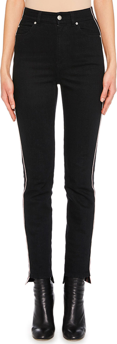 Alexander McQueen High-Waist Racer-Stripe Skinny-Leg Jeans with High-Low Cuff