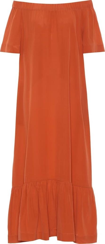 Asceno Off-the-shoulder silk crêpe dress