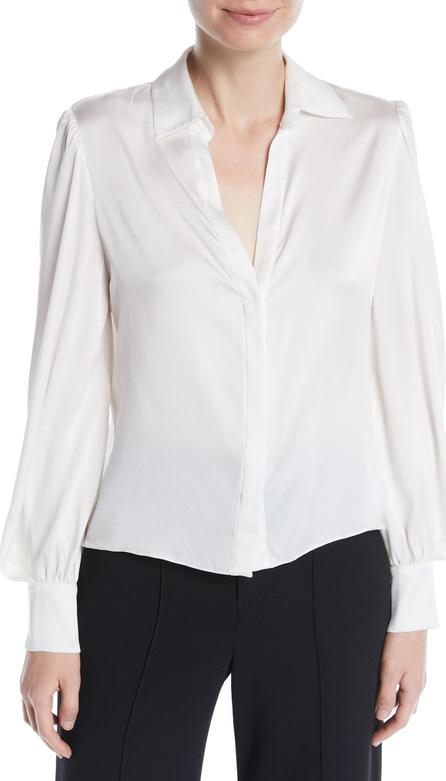 Alice + Olivia Shanda Button-Front Puff-Sleeve Silk Shirt