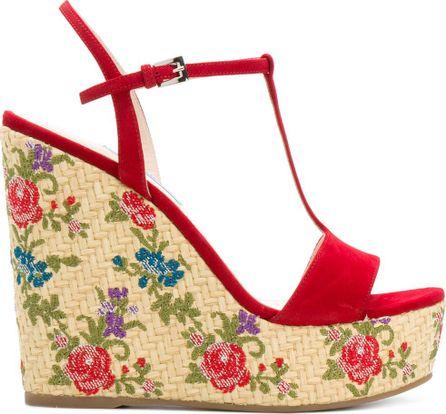 Prada Floral woven wedge sandals