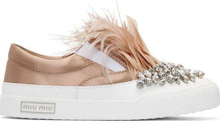 Miu Miu White & Pink Feather Crystal Slip-On Sneakers