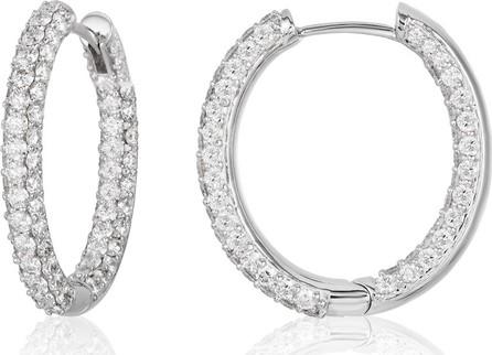 American Jewelery Designs Medium Pave Diamond Hoop Earrings in 18K White Gold
