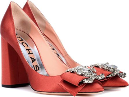 ROCHAS Embellished satin pumps