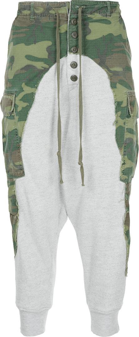 Greg Lauren Military printed loose track trousers
