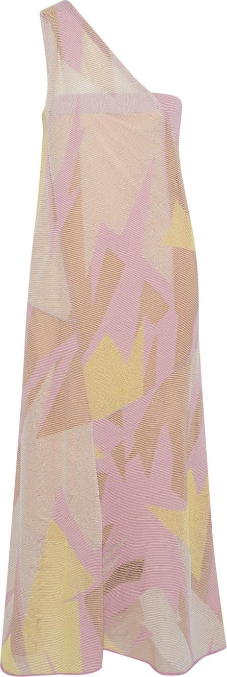 M Missoni One-shoulder crochet-knit cotton-blend midi dress