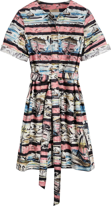 Burberry London England Short-sleeve Coastal Print Cotton Shirt Dress