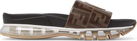 Fendi Logo-Appliquéd Printed Coated-Canvas and Leather Slides