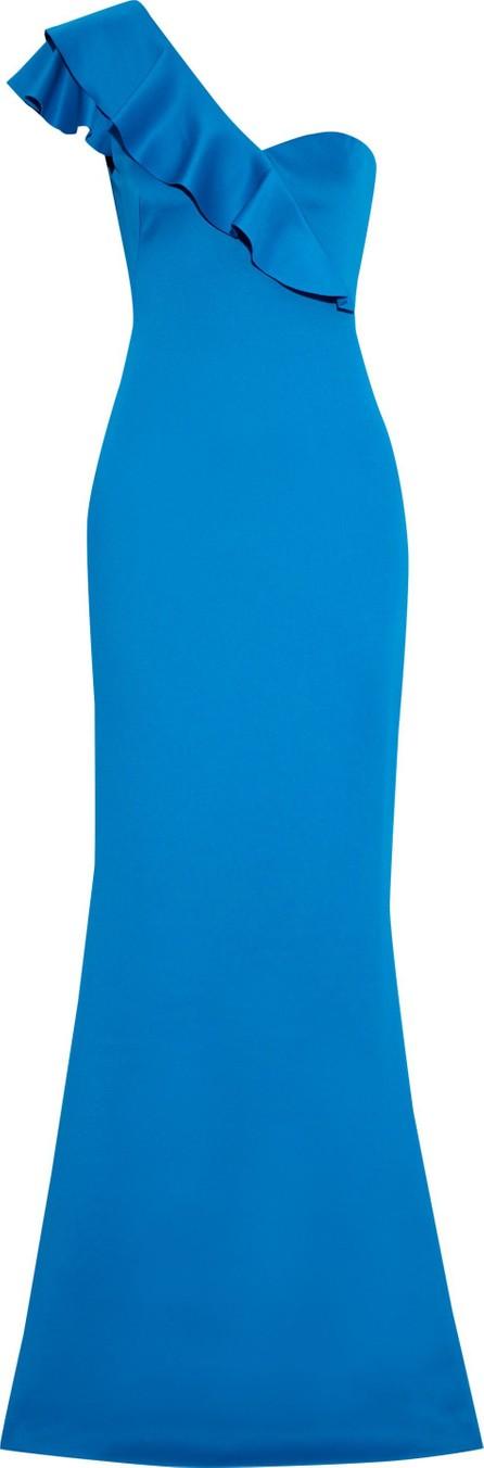 Black Halo EVE by Laurel Berman Carmel one-shoulder ruffle-trimmed stretch-cady gown